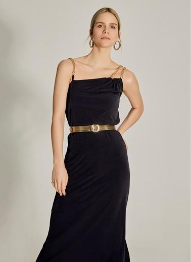 NGSTYLE Zincir Askılı Midi Elbise Siyah